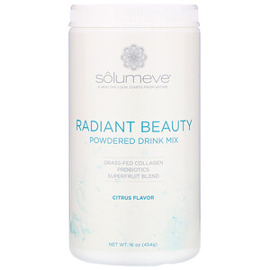 Solumeve, Radiant Beauty, Grass-Fed Collagen, Probiotics & Superfruits Powdered Drink Mix, Citrus, 16 oz (454 g)'