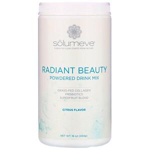 Solumeve, Radiant Beauty, Grass-Fed Collagen, Probiotics & Superfruits Powdered Drink Mix, Citrus, 16 oz (454 g) отзывы покупателей