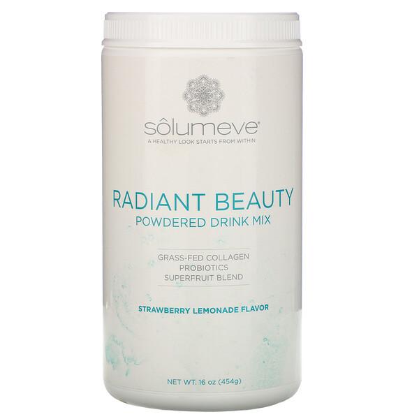 Solumeve, Radiant Beauty, אבקה להכנת משקה עם קולגן מהזנה בצמחים, פרוביוטיקה ופירות על, בטעם תות לימונדה, 454 גרם