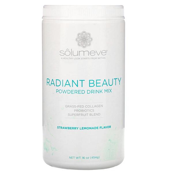 Solumeve, Radiant Beauty, сухая смесь для приготовления напитка с экологически чистым коллагеном, пробиотиками и суперфруктами, клубничный лимонад, 454г (16унций)