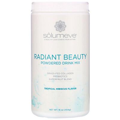 Купить Solumeve Radiant Beauty, сухая смесь для приготовления напитка с экологически чистым коллагеном, пробиотиками и суперфруктами, со вкусом тропических фруктов и гибискуса, 454г (16унций)