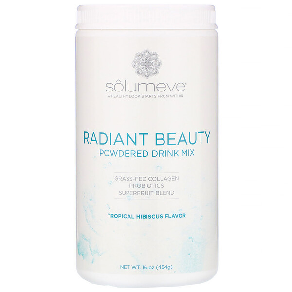 Radiant Beauty, Grass-Fed Collagen, Probiotics & Superfruits Powdered Drink Mix, Tropical Hibiscus, 16 oz (454 g)