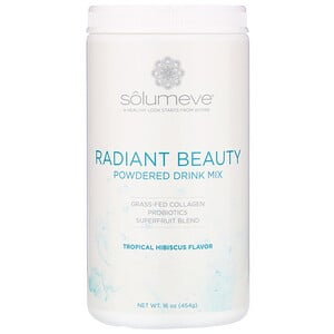 Solumeve, Radiant Beauty, Grass-Fed Collagen, Probiotics & Superfruits Powdered Drink Mix, Tropical Hibiscus, 16 oz (454 g)