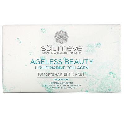 Купить Solumeve Ageless Beauty, жидкий морской коллаген, с персиковым вкусом, 10флаконов по 50мл (1, 69жидк.унции)