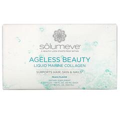 Solumeve, Ageless Beauty, жидкий морской коллаген с коэнзимомQ10 и растительными веществами, поддержка волос, кожи и ногтей, с персиковым вкусом, 10флаконов по 50мл (1,69жидк. унции)