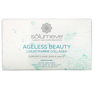 Solumeve, Ageless Beauty, Liquid Marine Collagen with CoQ10 & Botanicals, Hair, Skin & Nail Support, Peach Flavor, 10 Bottles, 1.69 fl oz (50 ml) Each