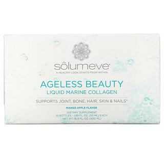 Solumeve, Ageless Beauty,含葡萄糖胺的液態海洋膠原蛋白,關節和結締組織支持,芒果蘋果味,10 瓶,每瓶 1.69 液量盎司(50 毫升)