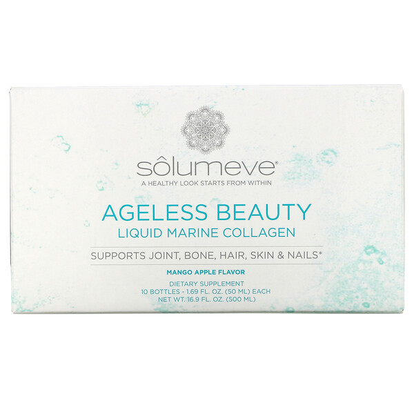 "Solumeve, Ageless Beauty, קולגן נוזלי ממקור ימי, בטעם מנגו ותפוח, 10 בקבוקונים, 50 מ""ל (1.69 אונקיות נוזל) כל אחד"