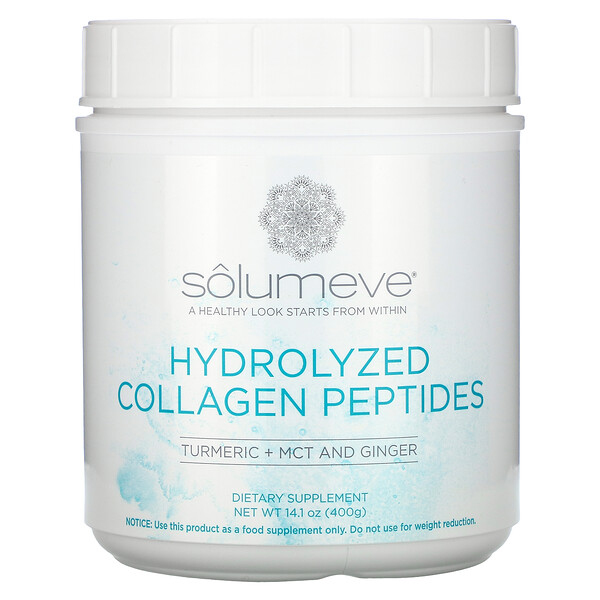 Solumeve, Hydrolyzed Collagen Peptides with Turmeric, 14 oz (400 g)