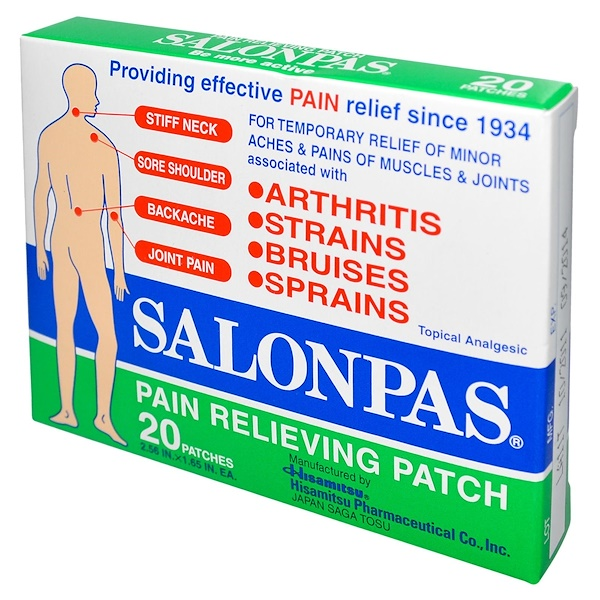 Salonpas, Pain Relieving Patch, 20 Patches, 2.56 in X 1.65 in Each (Discontinued Item)