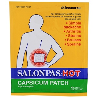 "Salonpas, HOT Capsicum Patch, 1 Patch, 5.12"" X 7.09"""