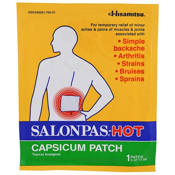 "Salonpas, HOT Capsicum Patch, 1 Patch, 5.12"" X 7.09"" (Discontinued Item)"