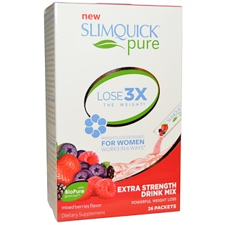SlimQuick, Pure, Extra Strength Drink Mix, Mixed Berries Flavor, 26 Packets