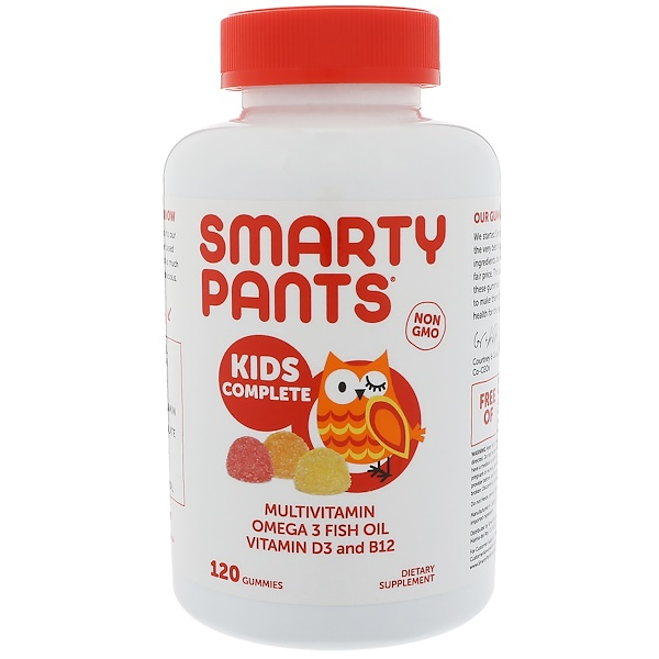 SmartyPants, Kids Complete Multivitamin Omega 3 Fish Oil Vitamin D3 and B12, 120 Gummies