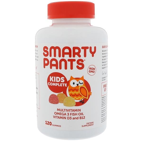 SmartyPants, キッズコンプリートマルチビタミンオメガ3フィッシュオイルビタミンD3、B12、120グミ