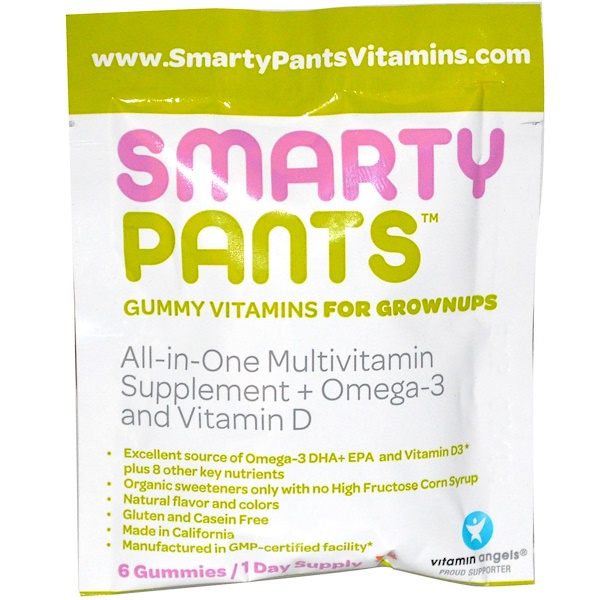 SmartyPants, All-in-One Multivitamin + Omega-3 + Vitamin D, 6 Gummies (Discontinued Item)