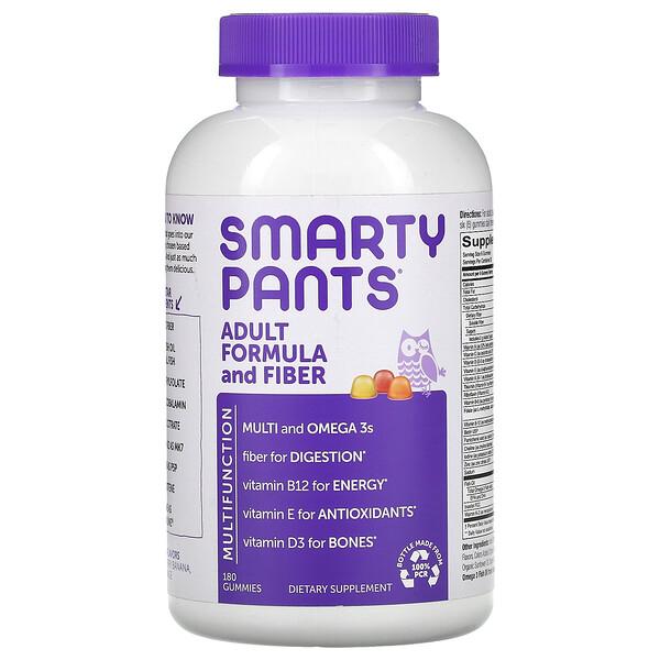 SmartyPants, Adult Formula and Fiber, Lemon, Strawberry Banana, and Orange, 180 Gummies