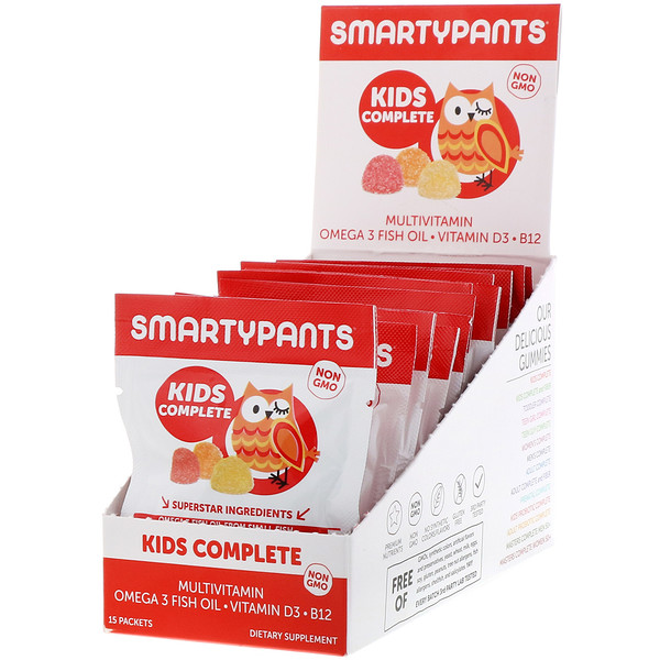 SmartyPants, Kids Complete Multivitamin, Strawberry Banana, Orange and Lemon, 15 Packets