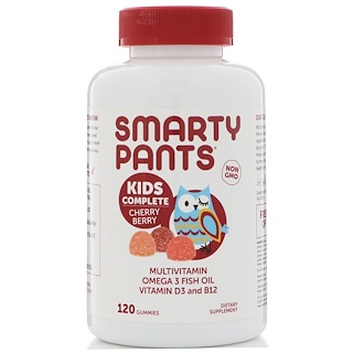 SmartyPants, Kids Complete, Multivitamin, Omega 3 Fish Oil, Vitamin D3 and B12, Cherry Berry, 120 Gummies