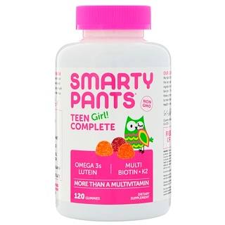 SmartyPants, Teen Girl! Complete, More Than A Multivitamin, Lemon Lime, Mixed Berry, and Sour Apple, 120 Gummies