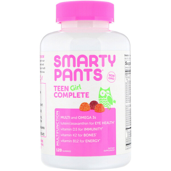 SmartyPants, Teen Girl Complete, Lemon Lime, Mixed Berry, and Sour Apple, 120 Gummies