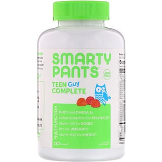 SmartyPants, Teen Guy Complete Multivitamin, Lemon Lime, Cherry, and Sour Apple, 120 Gummies