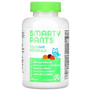 SmartyPants, Teen Guy Formula, Lemon Lime, Cherry, and Orange, 120 Gummies