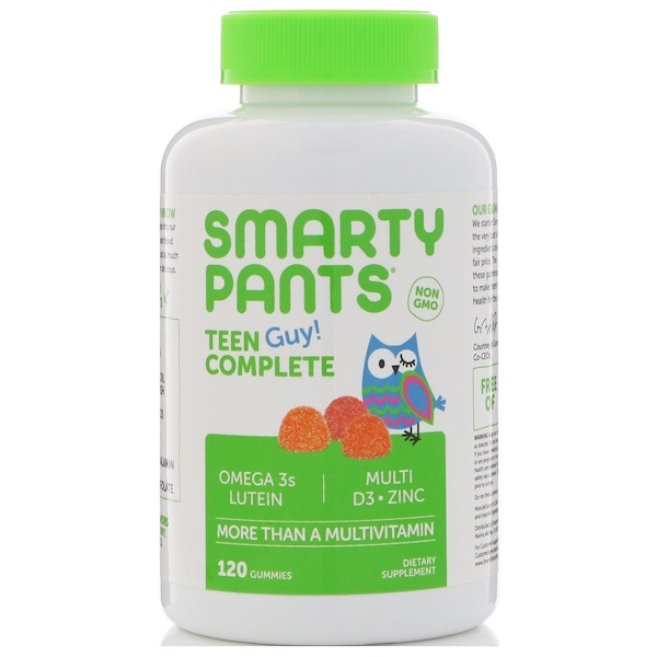 SmartyPants, Teen Guy! Complete, More Than A Multivitamin, Lemon Lime, Cherry, and Sour Apple, 120 Gummies