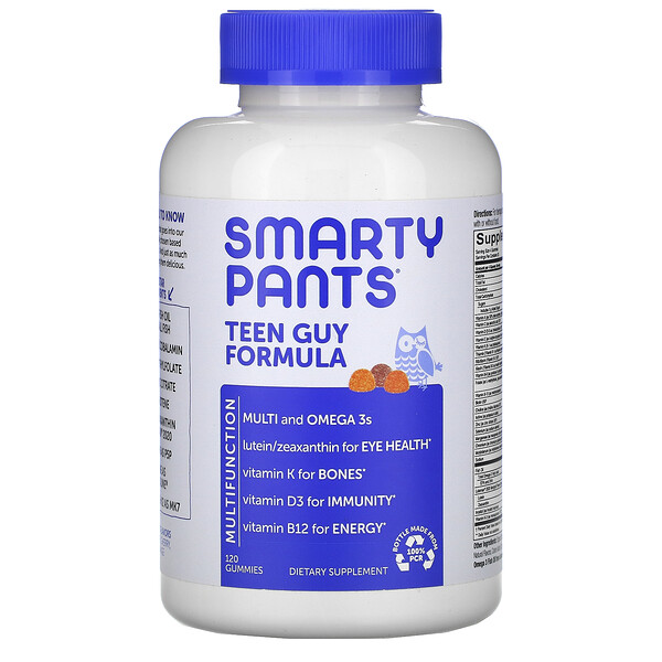 SmartyPants, Teen Guy Formula, Lemon Lime, Cherry, Orange, 120 Gummies