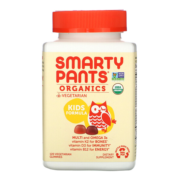 SmartyPants, Organics, Kids Formula, Cherry and Mixed Berry, 120 Vegetarian Gummies