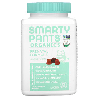 SmartyPants, Organics, Prenatal Formula, Grape, Blueberry, and Mixed Berry, 120 Vegetarian Gummies