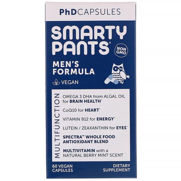 SmartyPants, PhD Capsules, Men's Formula, 60 Vegan Capsules