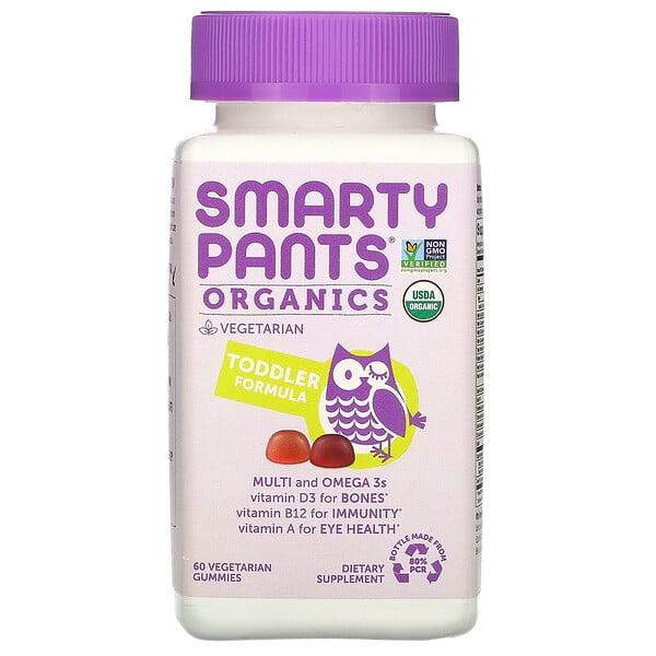 SmartyPants, אורגני, פורמולה לפעוטות, דובדבן ופירות יער, 60 סוכריות גומי צמחוניות