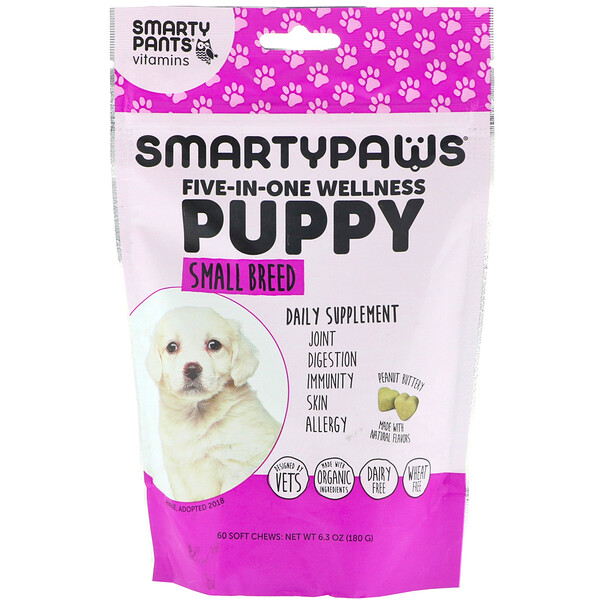 SmartyPants, SmartyPaws, Five-In-One Wellness, Puppy, Small Breed, 60 Soft Chews (Discontinued Item)