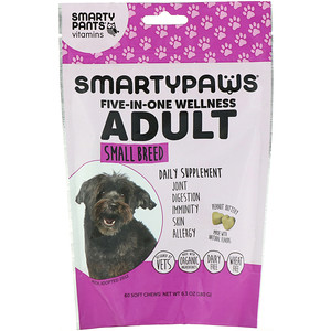 SmartyPants, SmartyPaws, Five-In-One Wellness, Adult, Small Breed, 60 Soft Chews