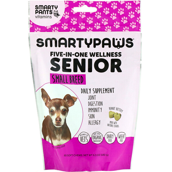 SmartyPants, SmartyPaws, Five-In-One Wellness, Senior, Small Breed , 60 Soft Chews (Discontinued Item)