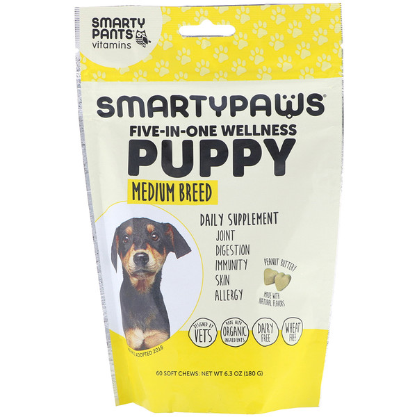 SmartyPants, SmartyPaws, Five-In-One Wellness, Puppy, Medium Breed , 60 Soft Chews