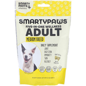 SmartyPants, SmartyPaws, Five-In-One Wellness, Adult, Medium Breed, 60 Soft Chews