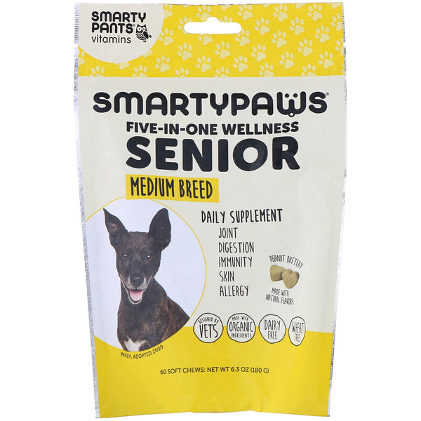 SmartyPaws, Five-In-One Wellness, Senior, Medium Breed, 60 Soft Chews
