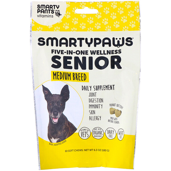 SmartyPants, SmartyPaws, Five-In-One Wellness, Senior, Medium Breed, 60 Soft Chews