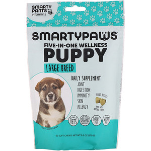 SmartyPants, SmartyPaws, Five-In-One Wellness, Puppy, Large Breed, 60 Soft Chews'