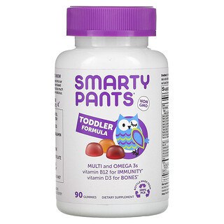SmartyPants, Toddler Formula, Multi and Omega 3s, Grape, Orange, and Blueberry, 90 Gummies