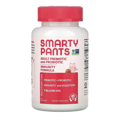 SmartyPants Adult Prebiotic and Probiotic, Strawberry Creme, 7 Billion CFU, 60 Gummies