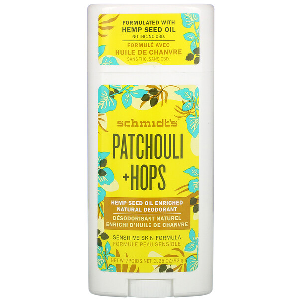 Natural Deodorant, Patchouli + Hops, 3.25 oz (92 g)