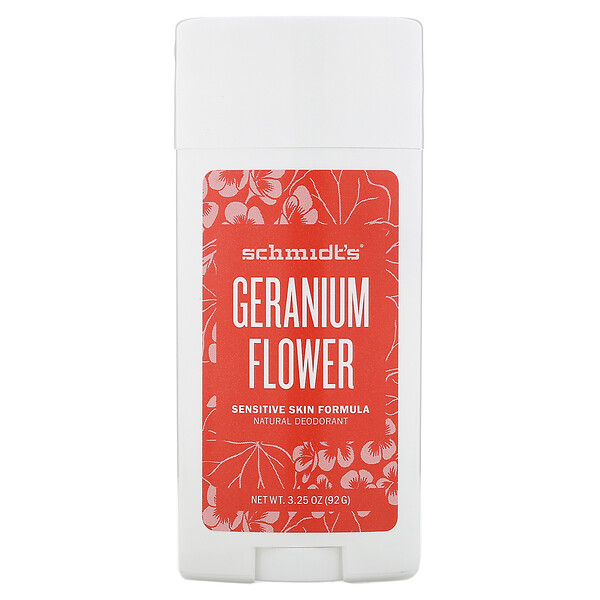 Schmidt's, Natural Deodorant, Sensitive Skin Formula, Geranium Flower, 3.25 oz (92 g) (Discontinued Item)
