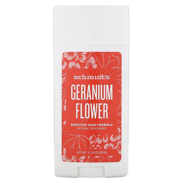 דאודורנט טבעי, פורמולה לעור רגיש, פרח גרניום, 92 גרם (3.25 אונקיות)