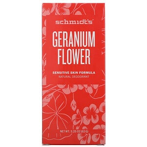 Schmidt's Naturals, Natural Deodorant, Sensitive Skin Formula, Geranium Flower, 3.25 oz (92 g)'