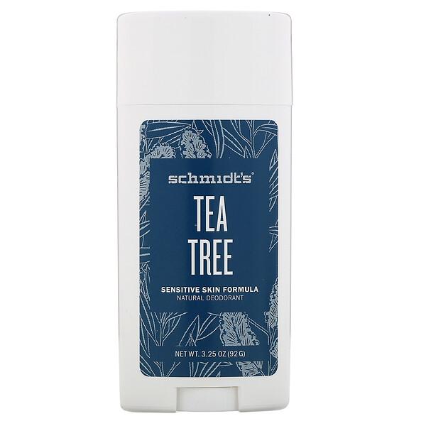 Schmidt's, Natural Deodorant, Sensitive Skin Formula, Tea Tree, 3.25 oz (92 g) (Discontinued Item)