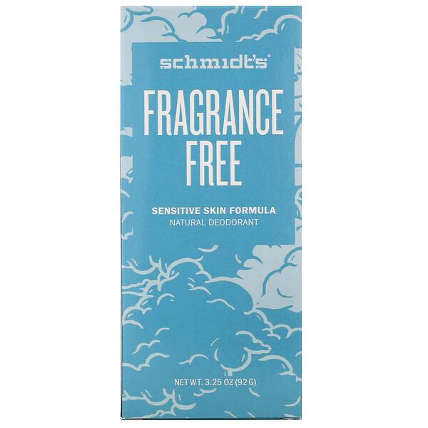 Natural Deodorant, Sensitive Skin Formula, Fragrance Free, 3.25 oz (92 g)