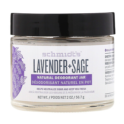 Купить Schmidt's Натуральный дезодорант в баночке, лаванда+шалфей, 56, 7г (2унции)